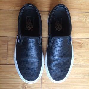 Black perf leather Vans
